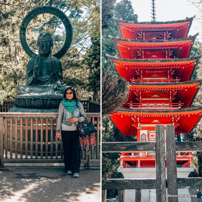Japanese Tea Gardens San Francisco Pagoda and Buddha Statue