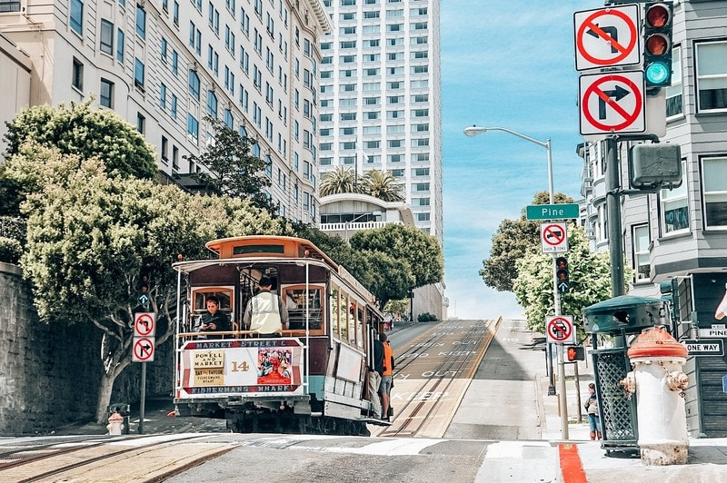 Cable Car in San Francisco Lombard Street