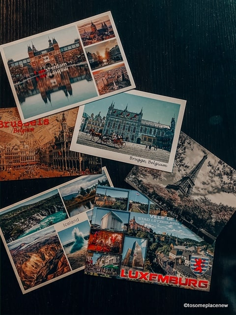 Postcards as travel souvenirs