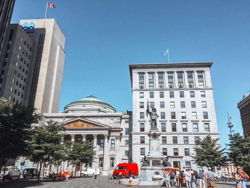 Place D Armes. Looking for one day in montreal itinerary? Visit old town and explore beautiful cathedral, old port, stunning colorful lanes and a square full of history.