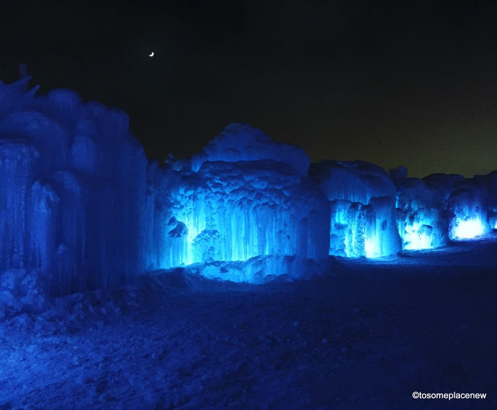 Ice Castles Edmonton is a unique way to experience winters in Alberta Canada. This event displays ice scuptures and runs for 2- 2.5 months,weather dependent