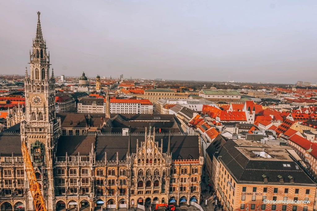 Beautiful views of Munich from Mary's Square. The BEST 5 days in Munich Itinerary. Read a day-by-day list of popular places like Marienplatz,English Gardens,day trips to Nuremberg, Dachau, Fussen & more #munich #germany #itinerarytomunich