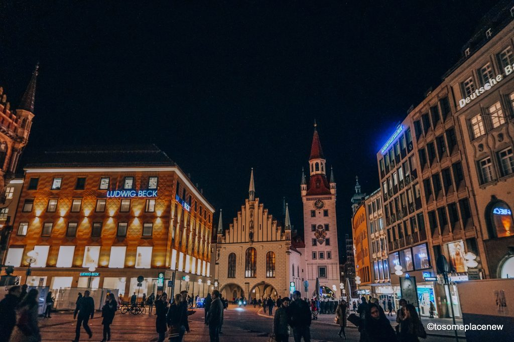 Mary's Square in Old Town Munich in the evening