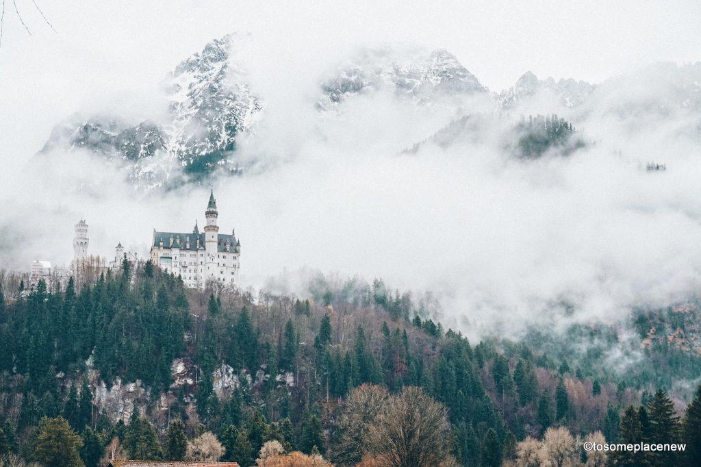 Bavarian countryside of Fussen with Neuschwenstein Castle