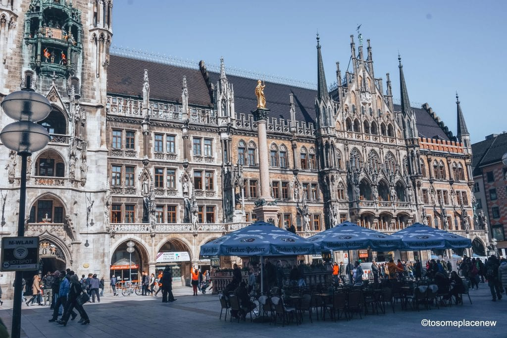 Marienplatz or Mary's Square in Munich. The BEST 5 days in Munich Itinerary. Read a day-by-day list of popular places like Marienplatz,English Gardens,day trips to Nuremberg, Dachau, Fussen & more #munich #germany #itinerarytomunich