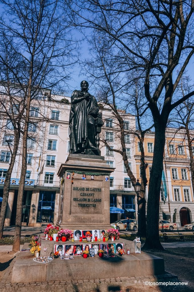 """Located a few blocks from the Church of Old Lady is a """"make-shift"""" Michael Jackson Memorial site. This memorial is located across the 5 star Hotel Bayerischer Hof, where MJ once stayed. The memorial is based at the statue of a Renaissance composer - Orlande de Lassus."""
