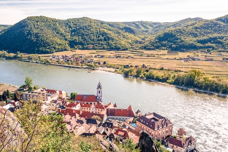 Durnstein Town in the Wachau Valley with Blue and White Tower of the Abbey Church and River Danube from Above