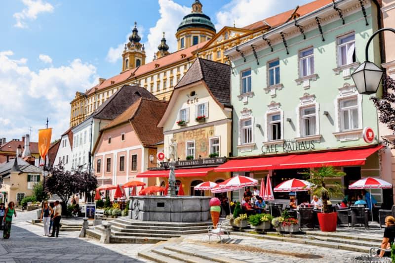 Main square of town Melk in Lower Austria.