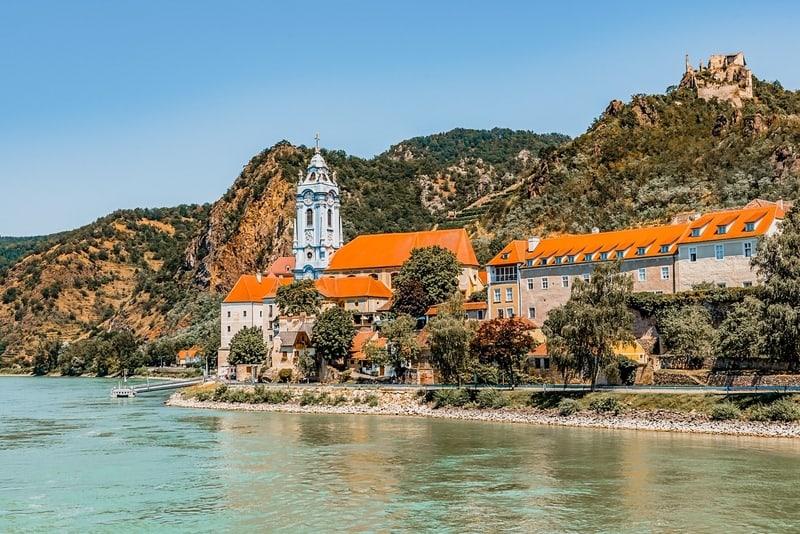 Village, church and Castle of Durnstein in Wachau on Danube, an Unesco World Heritage SIte of Austria