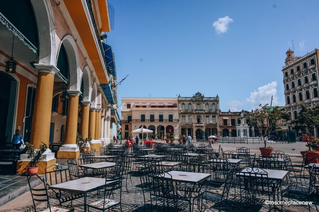 Old Havana Square. Beautiful pictures of Havana Cuba. Havana is a photographer's dream and every street in Cuba showcases the interesting past, its beautiful people and amazing architecture. Be sure to add these spots to your Cuba travel itinerary.  #havana #cuba