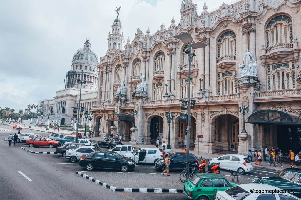Outside of the Grand Theatre of Havana. 45 Beautiful pictures of Havana Cuba. Every street in Havana tells an interesting story. Include these stunning spots to your Cuba travel itinerary.