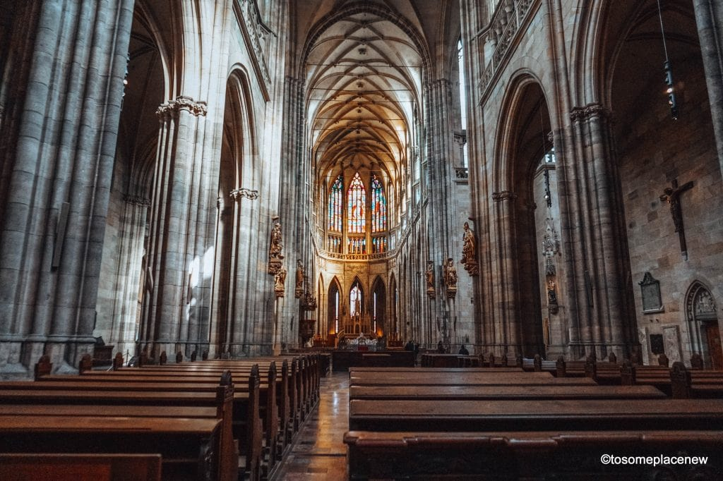 Interiors of St Vitus Cathedral in Prague Castle District #Prague