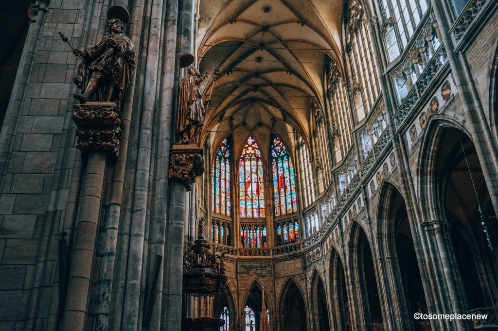 Beautiful glass work and cravings inside the St Vitus Cathedral in Prague Castle District #Prague