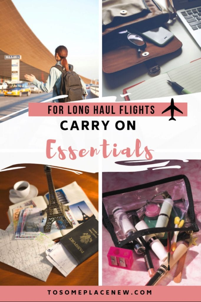 Essentials for long haul flights - Get the carry on essentials for long flights, including checklists to stay organised. Post contains all the essentials for long flights carry on bag like electronics, documents, cosmetics, etc Inspiration for long haul flight outfit and long haul flight essentials what to wear is included.