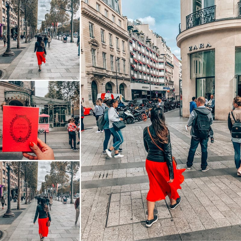 Champs Elysees Girl in red dress walking the lanes of Champs Elyees Laduree Macaroons. Perfect 4 day Paris Itinerary - Experience the best in sightseeing with things to do in 4 days in Paris, what to eat, where to stay and other travel tips