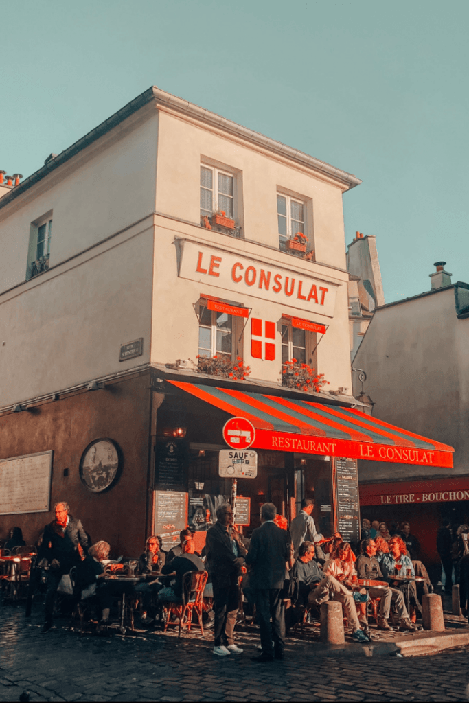 Le Consulat Cafe in Montmartre. Perfect 4 day Paris Itinerary - Experience the best in sightseeing with things to do in 4 days in Paris, what to eat, where to stay and other travel tips #paris #parisitinerary