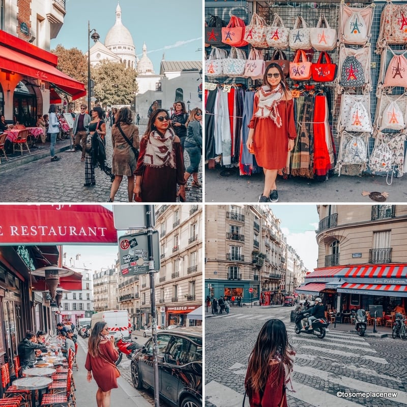 Glimpses of Montmartre - Scared Heart Basilica, Souvenir shops, Cafes and Lanes. Perfect 4 day Paris Itinerary - Experience the best in sightseeing with things to do in 4 days in Paris, what to eat, where to stay and other travel tips #paris #parisitinerary