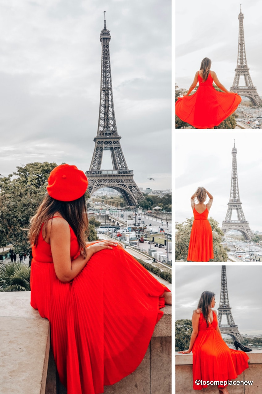 Eiffel Tower and pictures of a girl at the Eiffel Tower. Perfect 4 day Paris Itinerary
