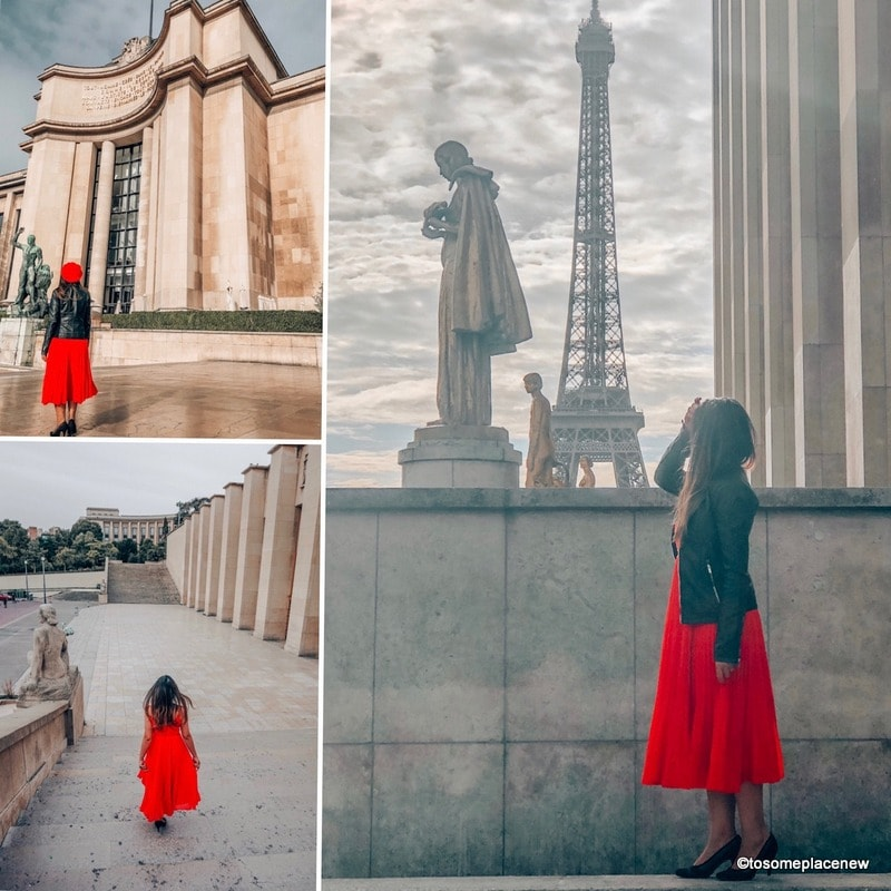 Trocadero Gardens Eiffel Tower and pictures of a girl at the Eiffel Tower. Perfect 4 day Paris Itinerary