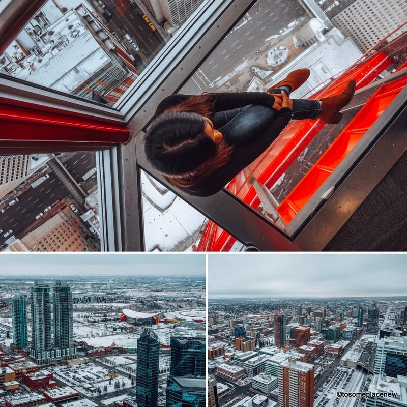 Downtown Calgary Tower views in winter, on the glass floor