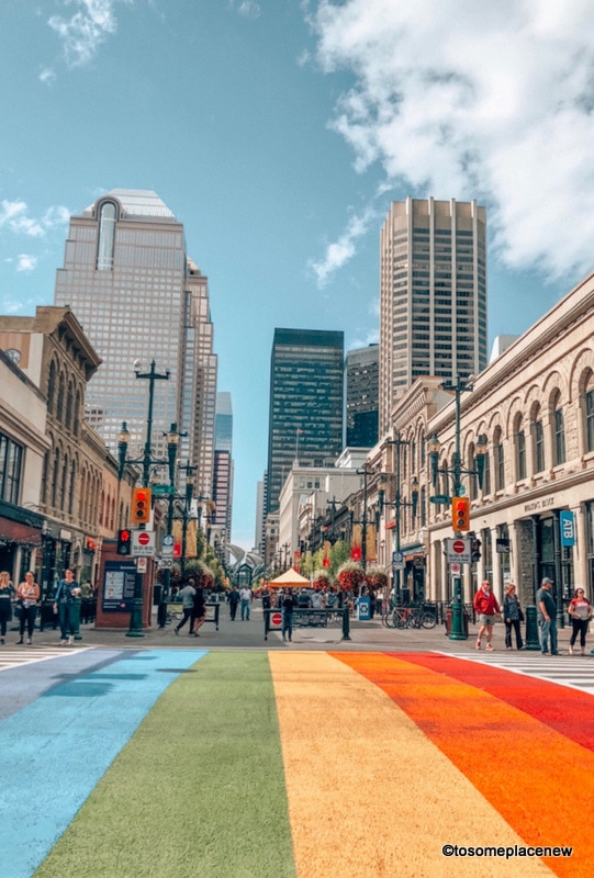 Colorful and vibrant lanes of Downtown Calgary - Stephen Avenue Walk