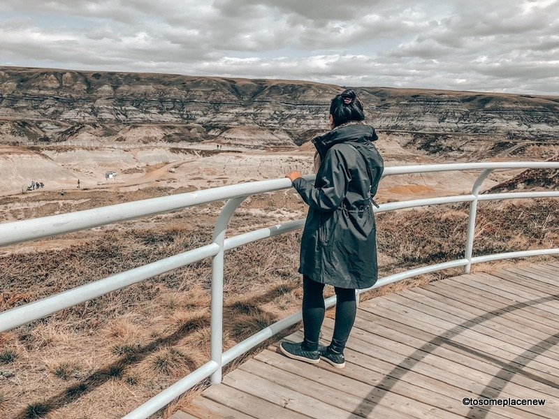 Look out from Royal Tyrell Musuem. Day trip from Calgary to Drumheller attractions - Top Things to do in Drumheller with Dinosaur Park, ghost towns, hoodoos, coal mine, suspension bridge