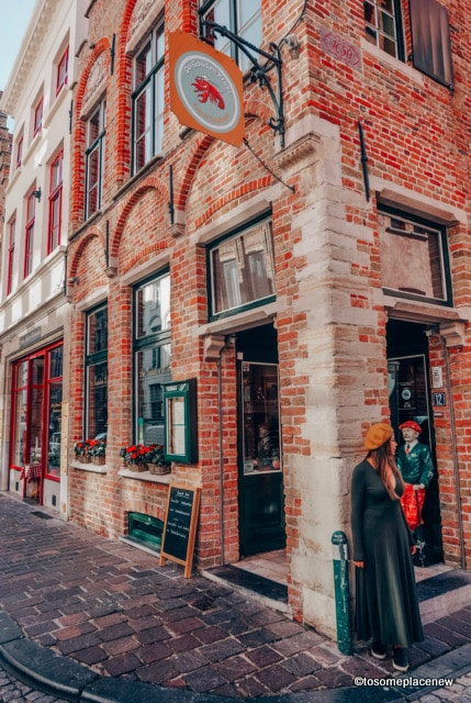 Sea food restaurant in Bruges. Get ready to be mesmerized by gingerbread houses, medieval Markt Square, romantic canal tour, Belgian waffles and beer tour in one day in Bruges Itinerary.
