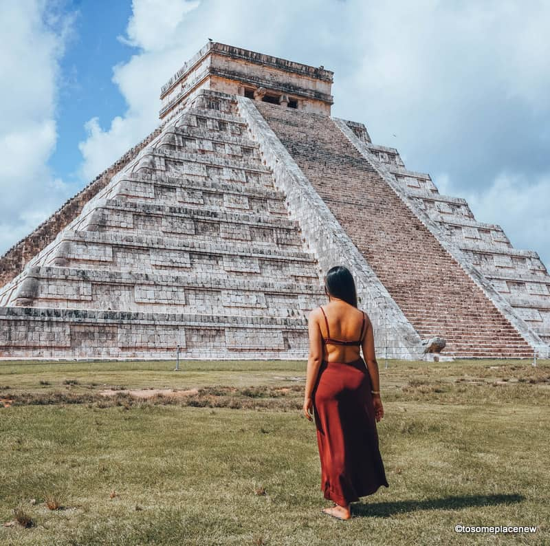 Girl exploring Chichen Itza tour from Playa del Carmen