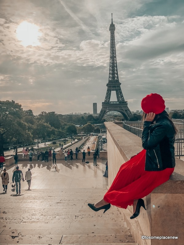 Paris Eiffel Tower Girl in Red Dress