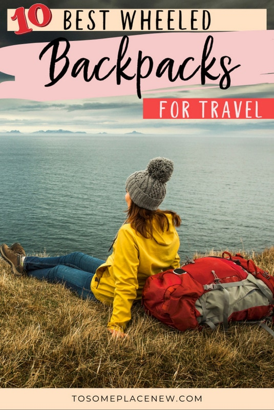 Girl in yellow jacket, relaxing, carrying the best wheeled backpack for travel