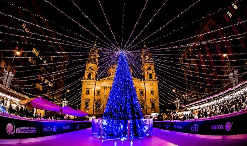Christmas Market in front of St. Stephen Basilica - Best Winter Destinations in Europe