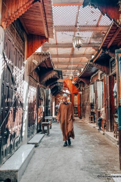 Moroccan man walking in Fes Medina in North Morocco Itinerary 7 days