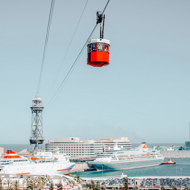 Cable car views in Barcelona