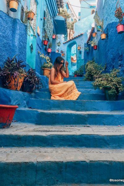 Girl in yellow dress in Chefchauoen Medina Lanes