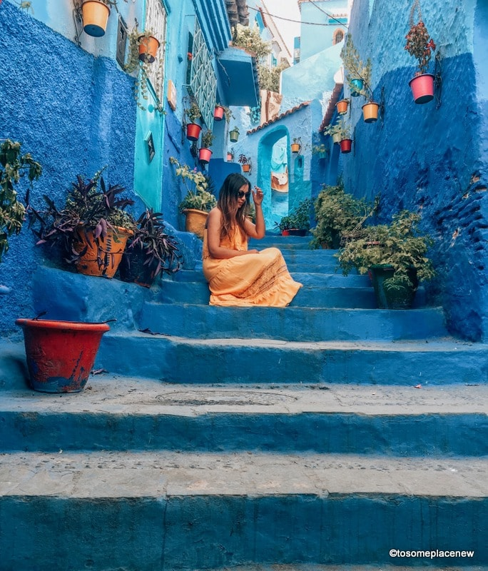 Chefchaouen Medina Lanes and a girl in yellow dress