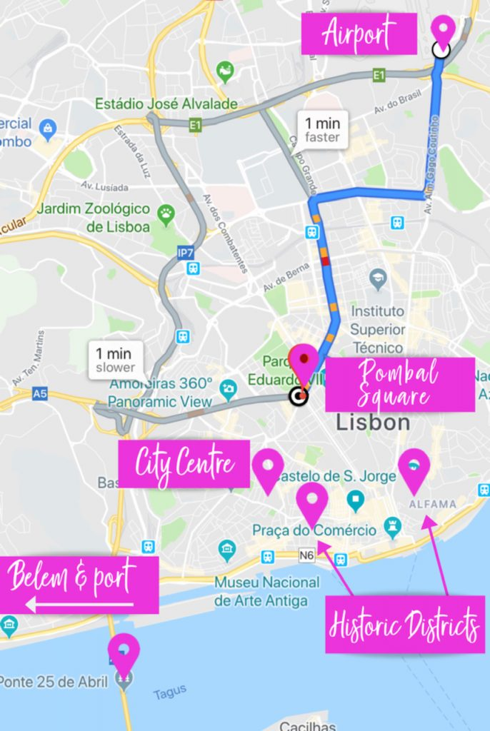 Lisbon Attractions Map