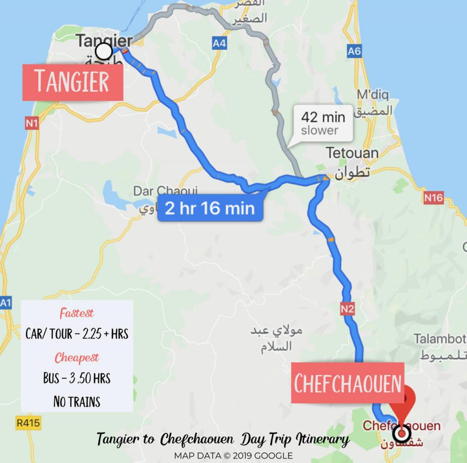 Tangier to Chefchaouen Day trip itinerary - Google Map