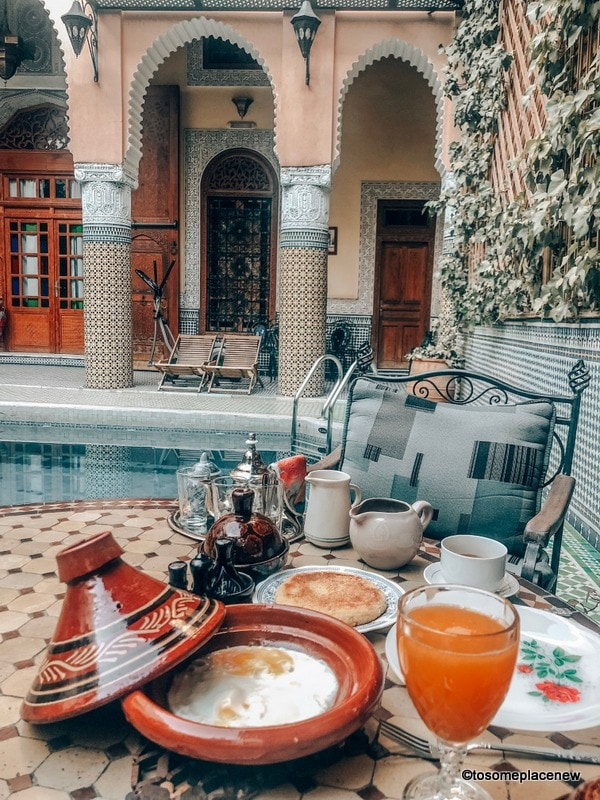 Breakfast in our riad in Fes Itinerary
