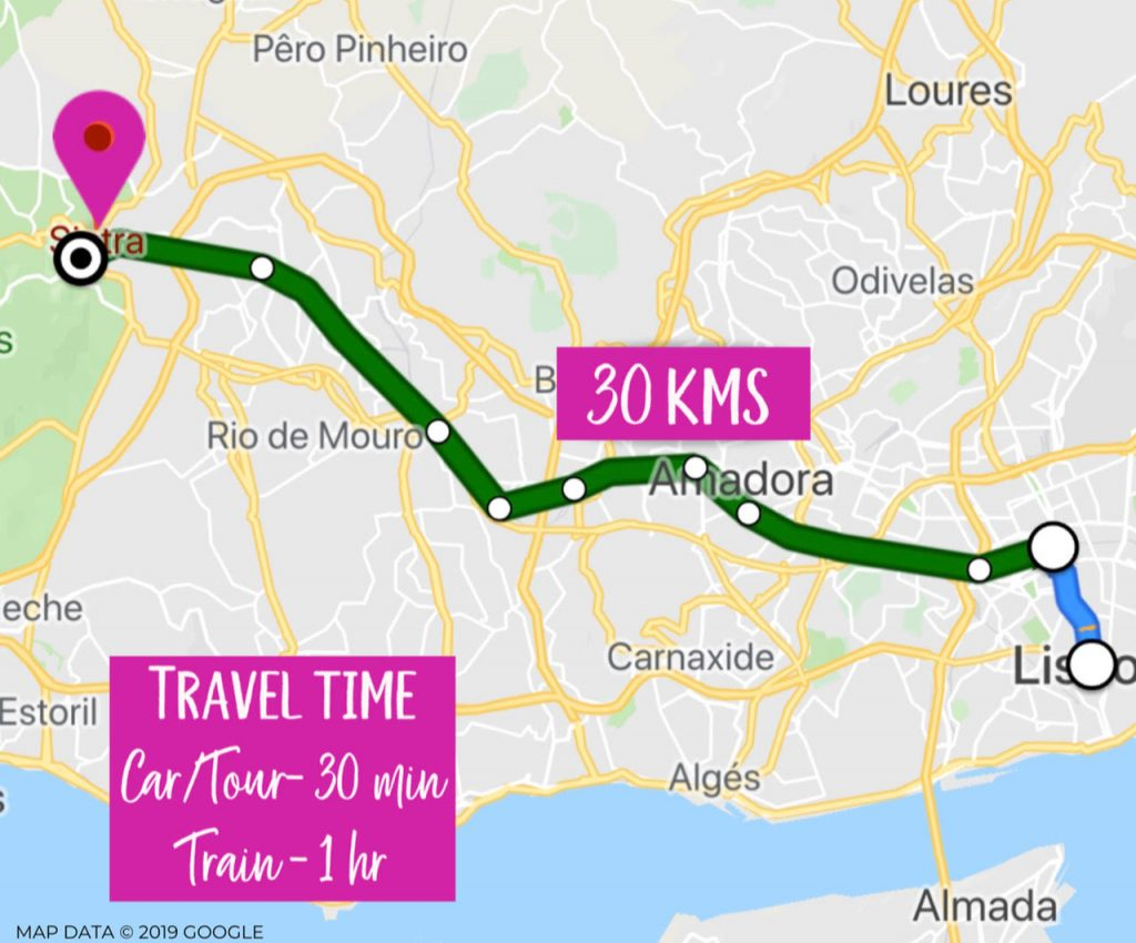 Distance from Lisbon to Sintra Map