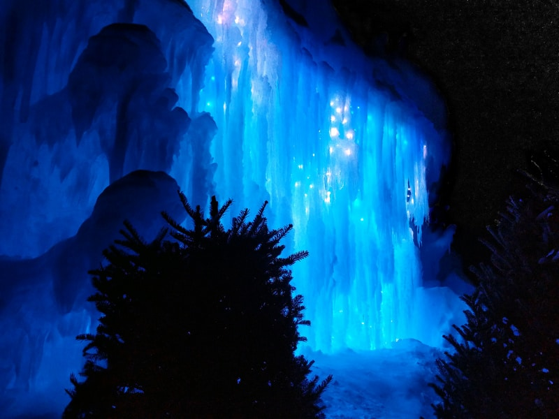 Ice Castles night Best winter vacations in USA