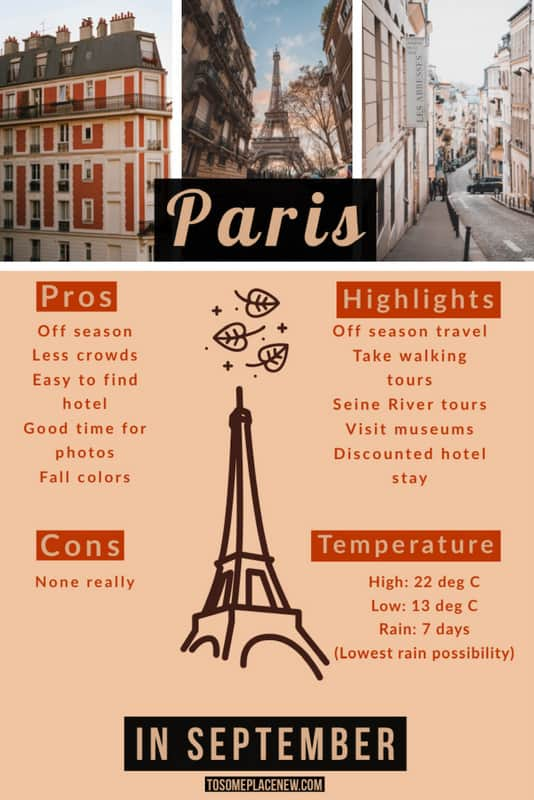 Paris in September is the best time to go to Paris
