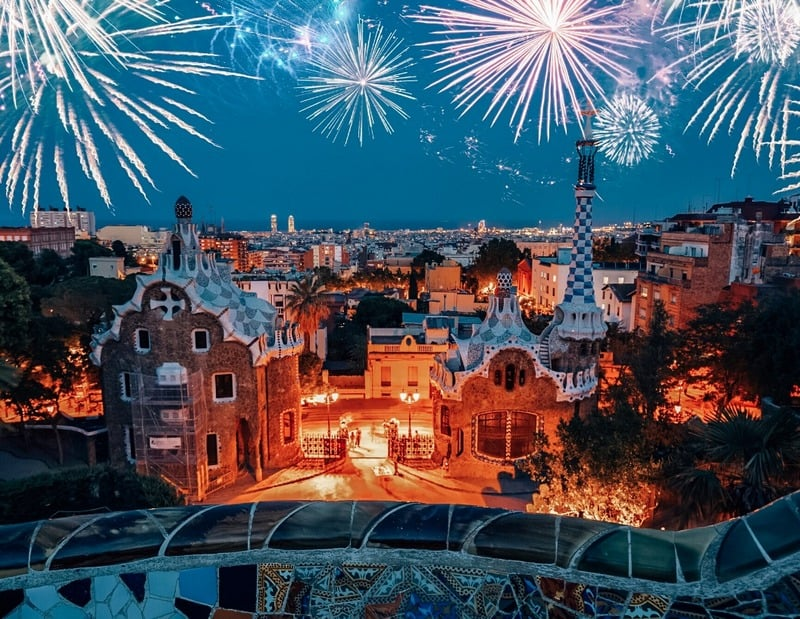 Park Guell Barcelona Lights