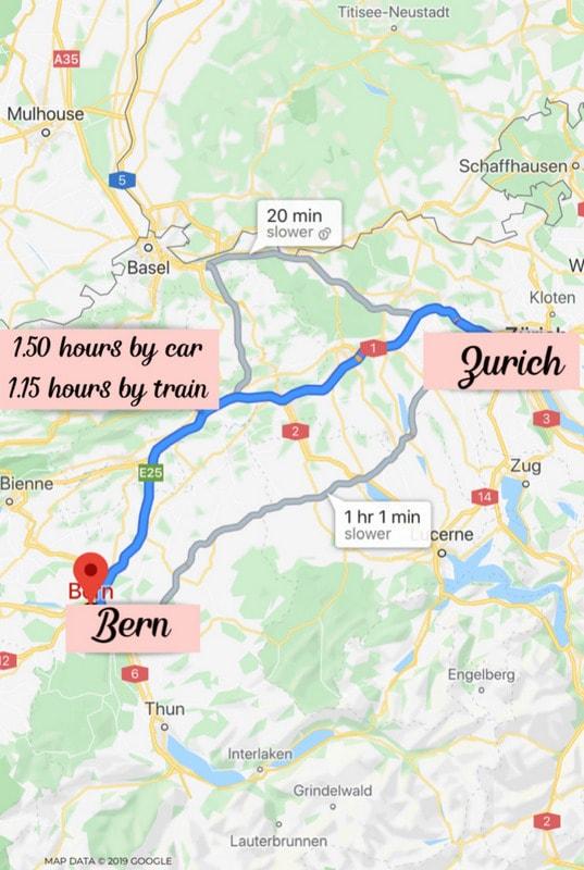 Zurich to Bern Distance