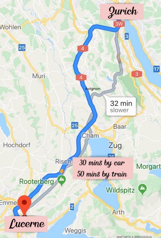 Zurich to Lucerne Map - Best Switzerland Itinerary 7 days