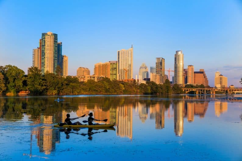 view of Austin, Texas downtown skyline most beautiful cities in USA