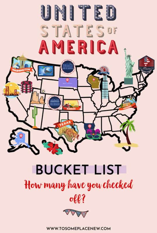 USA bucket list with most beautiful cities in USA colored map