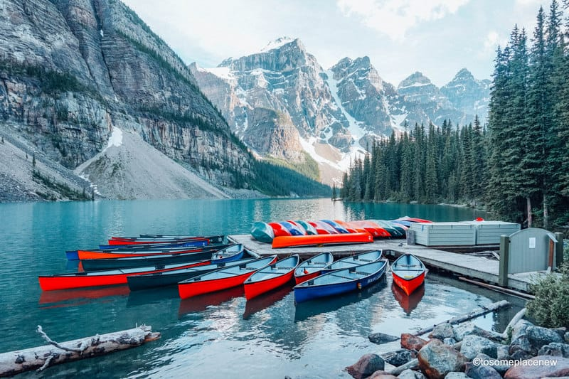 Moraine Lake and colorful kayaks