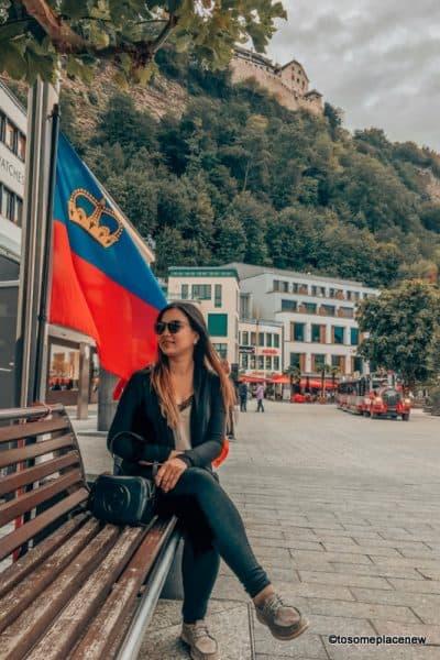 Mayuri in the Vaduz center, flag, citytrain and all things to do in Zurich to Liechtenstein day trip