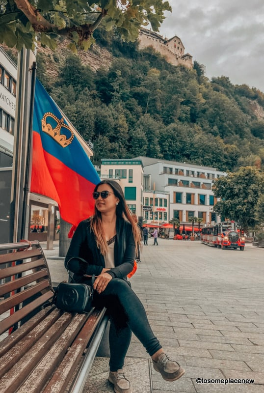 Mayuri in the Vaduz center, flag, citytrain and all things to do in Zurich to Liechtenstein day trip