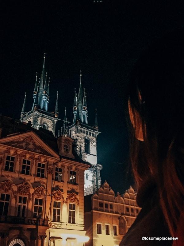Prague at night in old town